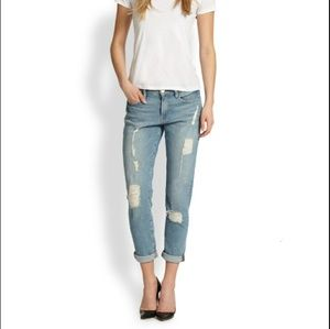 FRAME light wash distressed La Garcon skinny jeans